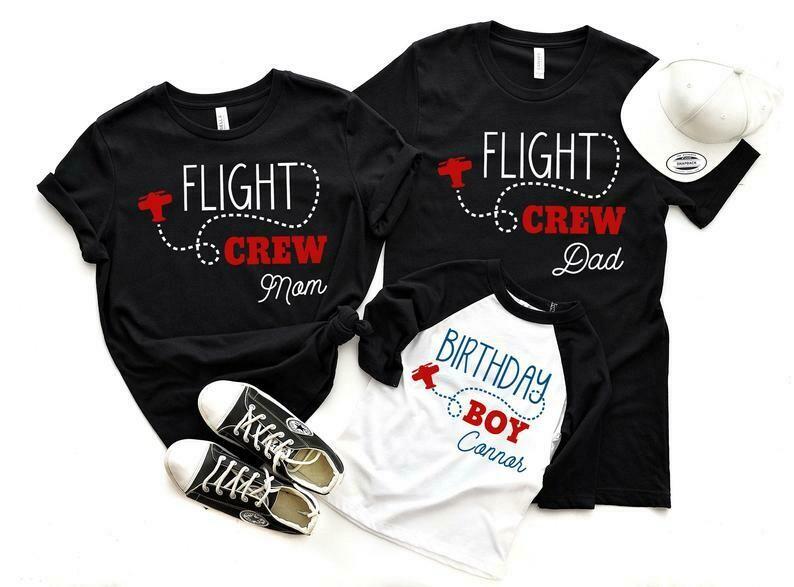 Mom of the Birthday Boy Dad of the Birthday Boy Airplane Birthday Shirts Flight Crew Birthday Party Shirts Airplane Birthday Party Shirts