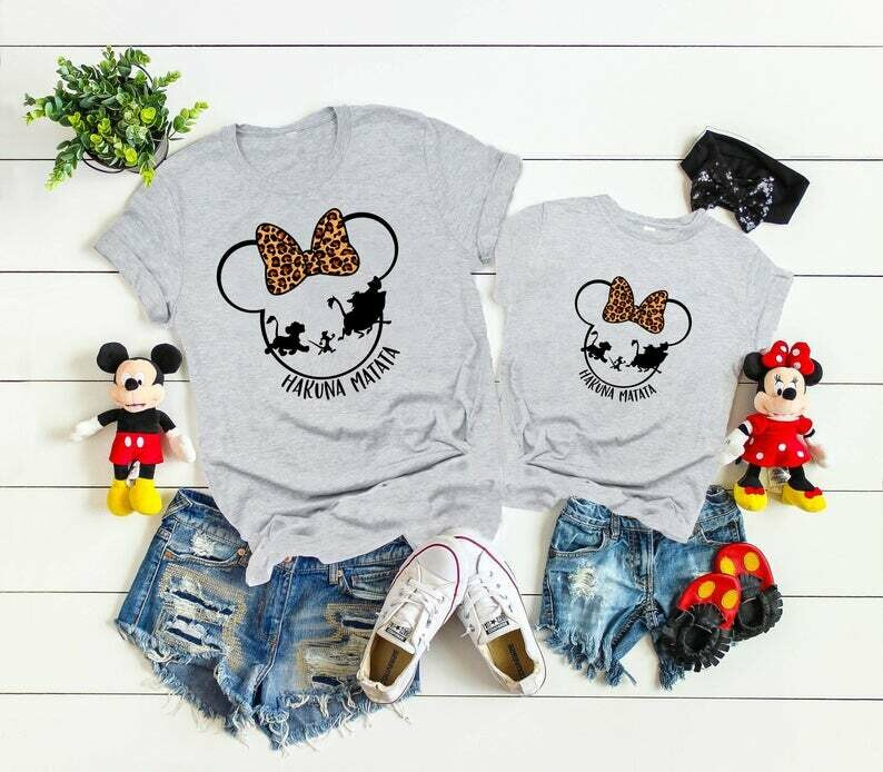 Hakuna Matata Shirt Disney Family Shirts Mickey and Minnie Head Disney Matching custom Shirt, Mickey Silhouette,Animal Kingdom shirt, D95