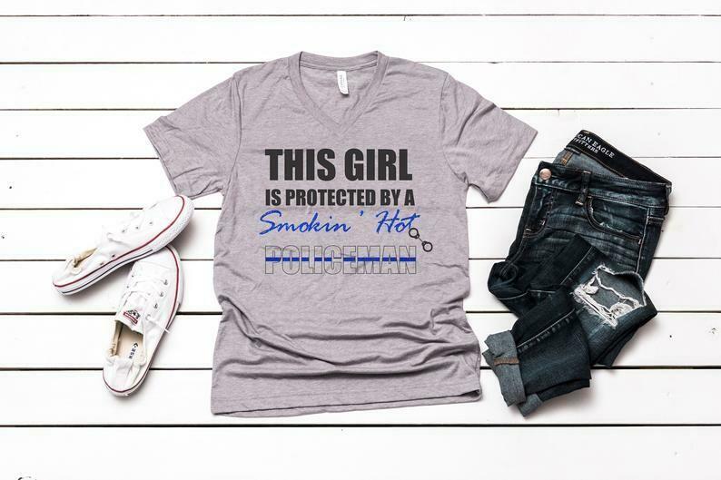Smokin Hot Police Shirt, Police Blue Line shirt, Law Enforcement Shirt, Police Girlfriend Shirt, Police Wife shirt