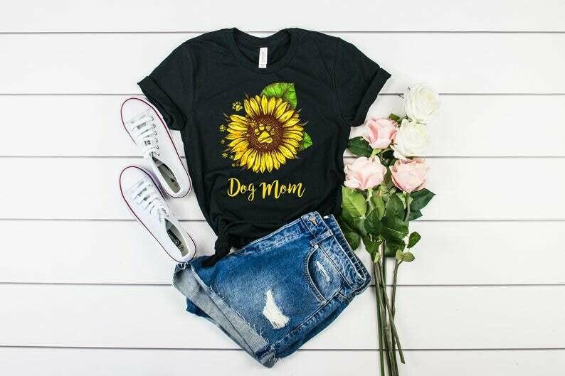 Sunflower Dog Mom Shirt, Dog Mom T-shirt, Funny Shirt For Dog Mom, Dog Lovers, Rescue Dog Mom, Birthday Gifts, Christmas Gifts, Unisex Tees