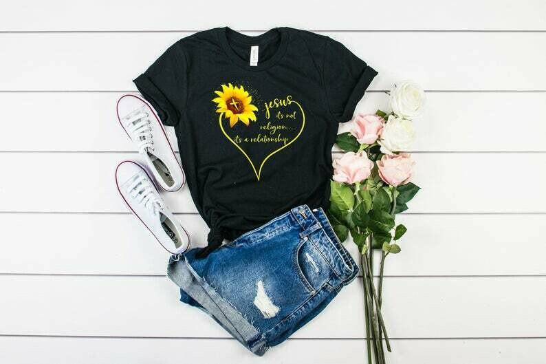 Sunflower Jesus It's Not Religion It's A Relationship Shirt, Christian Shirts, Christian T-shirt, Christian Gifts, Sunflower Shirts