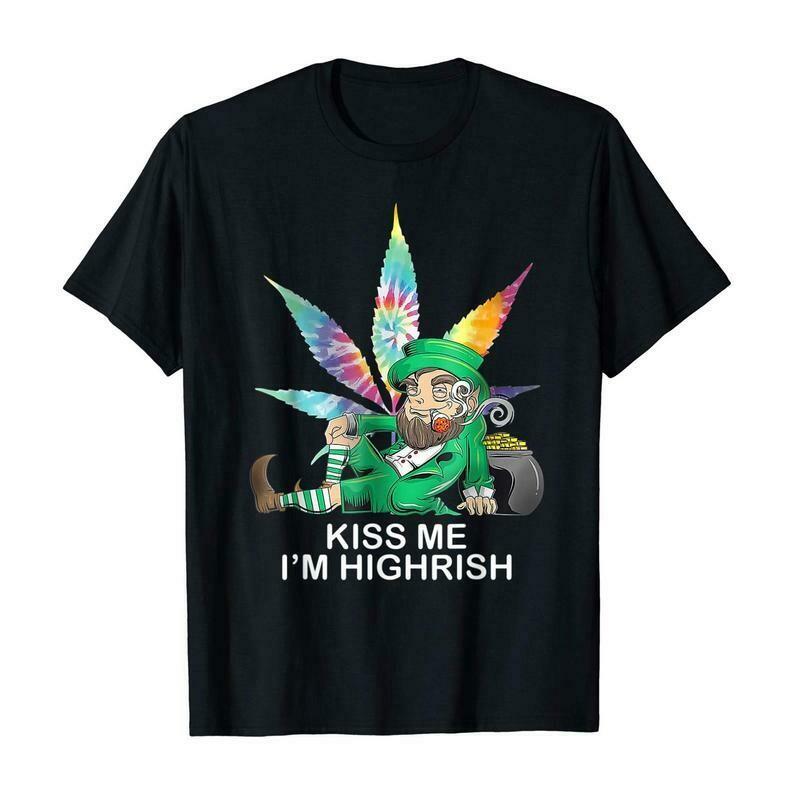 Kiss me I'm Highrish Weed Leaf Tie Dye Hippie Patrick's Day T-Shirt