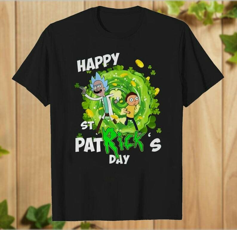 Rick And Morty Happy St Patrick's Day Flip The Bird Rick And Morty Shamrock Boobs for Retro T-shirt- hung06032020