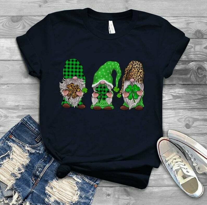 Three Gnomies hold Irish - Irish Happy St. Patrick's day shirt T-shirt Shamrock sweat shirt hoodie - H Tsh2d 210220 1