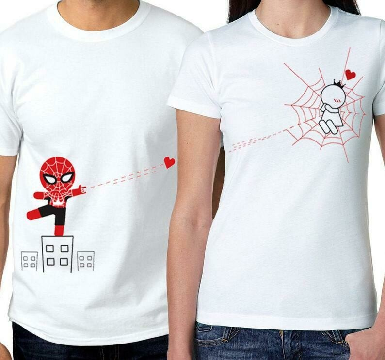 Couples Shirts His and Hers Shirts Matching Couple Outfit Couples Gift Set Spiderman Shirt Boyfriend Gift Husband Gift BoldLoft