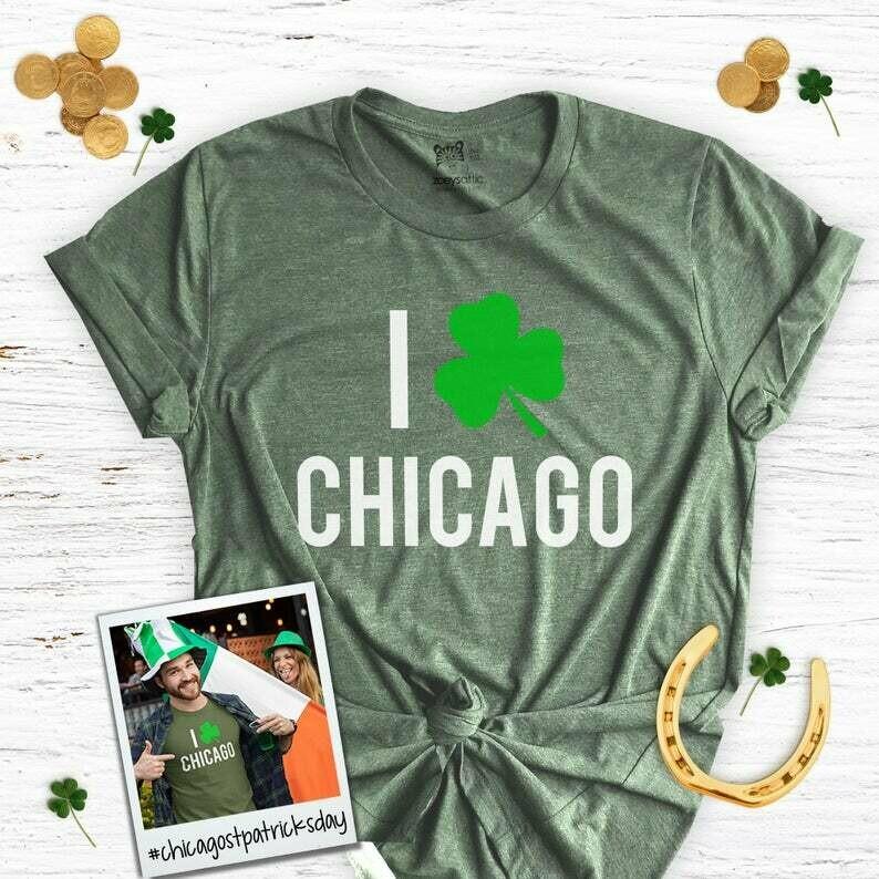st patricks day shirts   I shamrock chicago adult unisex DARK t-shirt   st. pats chicago shamrock st paddy's day vneck dark shirt SNLS2-043D