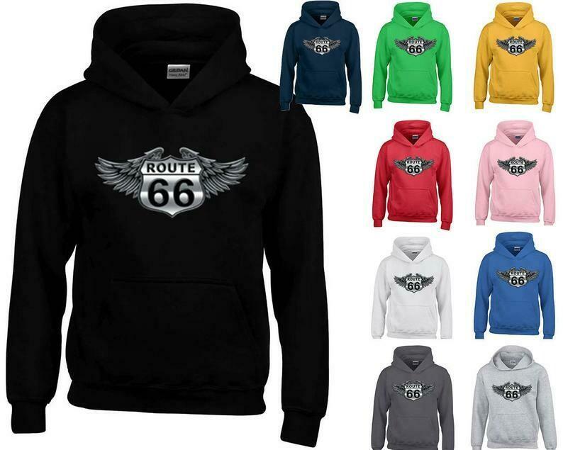 WINGS Route 66 UNISEX HOODIE Route Us 66 Sweatshirt Get Your Kick On Route 66 Hoodie