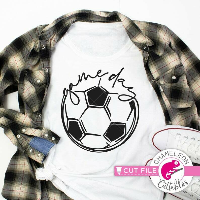 Game day design, Soccer ball, SVG, DXF, EPS cut file for shirt, for Cutting Machine, Silhouette Cameo, Cricut, Commercial Use Digital Design