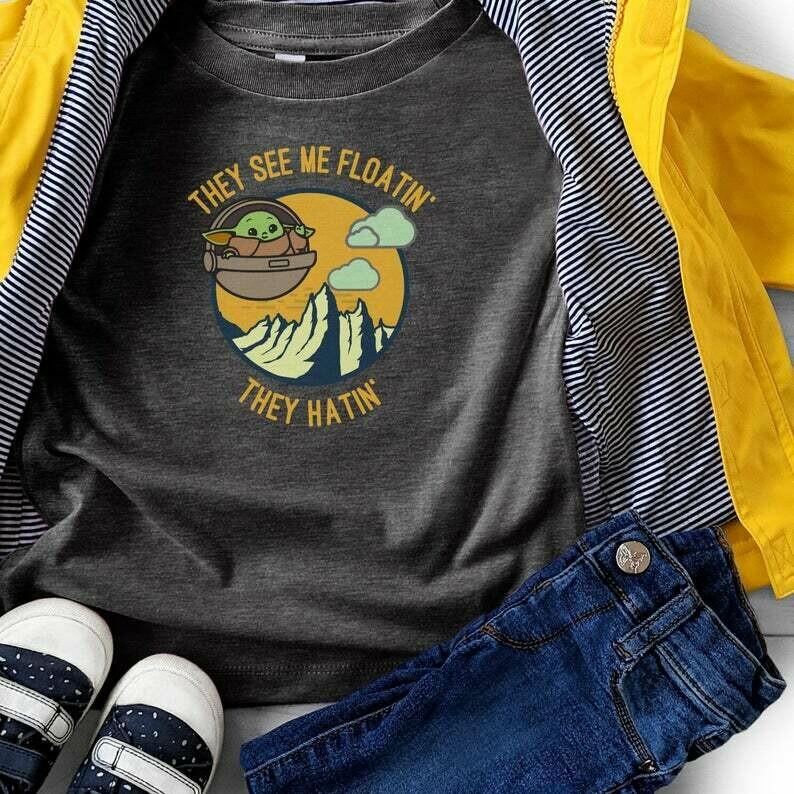 Baby Yoda Kids, They hatin', Star Wars Baby Yoda, Disney Baby Yoda Shirt, Yoda Youth Shirt