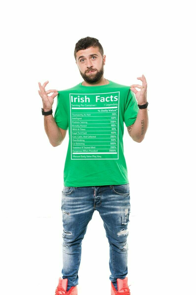 Must Read Irish Facts Ireland Tee shirt Holiday Tee Funny Irish Facts Green T-Shirt ST. Patrick's Day Shirt Pub Drinking Funny Tee Shirt