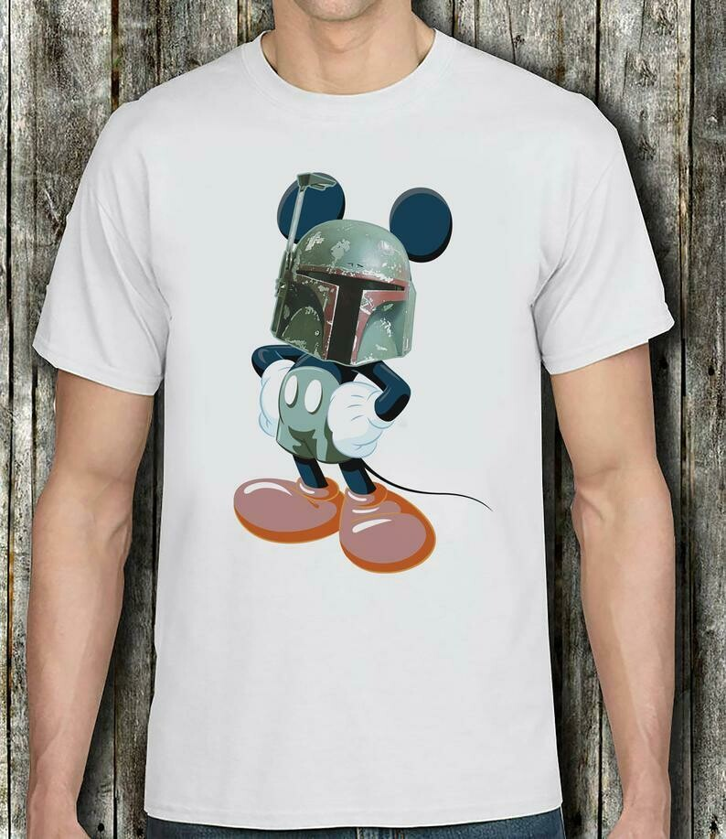 Boba Fett the Mandalorian Mickey Mouse t- shirt - Star Wars Boba Fett and Mickey Mouse with Boba Fett mask Bounty hunter Mickey Mandalorian