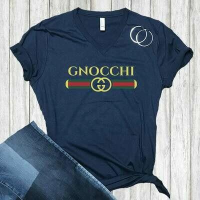 Gnocchi Pasta Gucci Spoof Funny T-shirt | Italy World Travel Gift | Unisex V-neck T-shirt