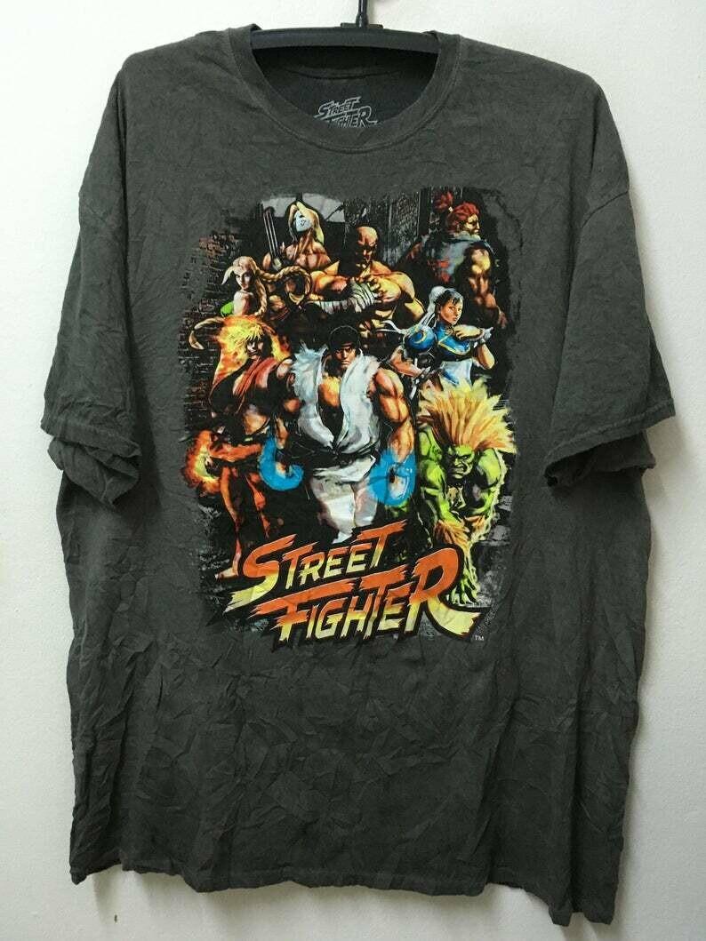 "Vintage Street Fighter Cartoon Games Pop Art Tee /T-shirt/L 25""over"