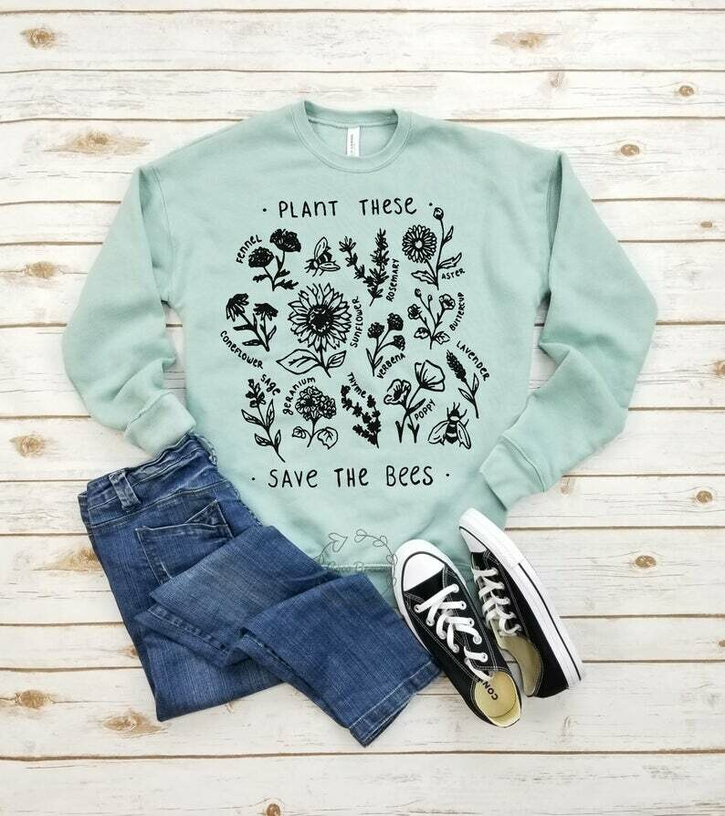 Plant these save the bees (black) - unisex fleece sweatshirt. bee lover shirt, honey bee tee, save the bees tshirt, gift for her