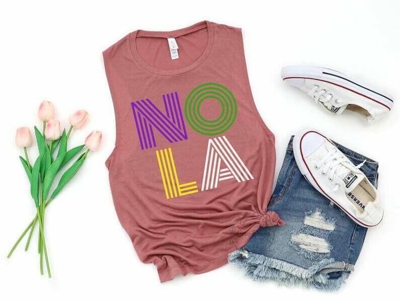 NOLA (color) - womens muscle tank. Fat Tuesday, New Orleans, Shirt for Mardi Gras, NOLA shirt, Liousana shirt, Shrove Tuesday, Crawfish