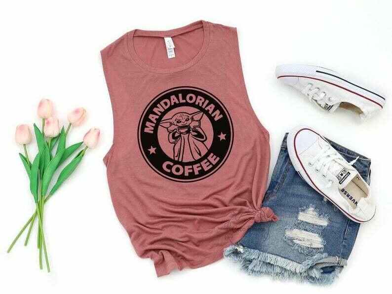 Man dolorian coffee - womens muscle tank. star wars shirt, disney star wars, yoda shirt, coffee shirt, coffee lover shirt, coffee shirts