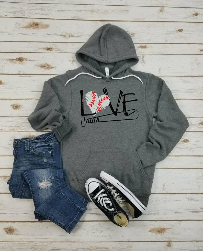 LOVE (baseball) - unisex fleece hoodie. baseball season, baseball mom, baseball mama, i'll always be your biggest fan, pitch please
