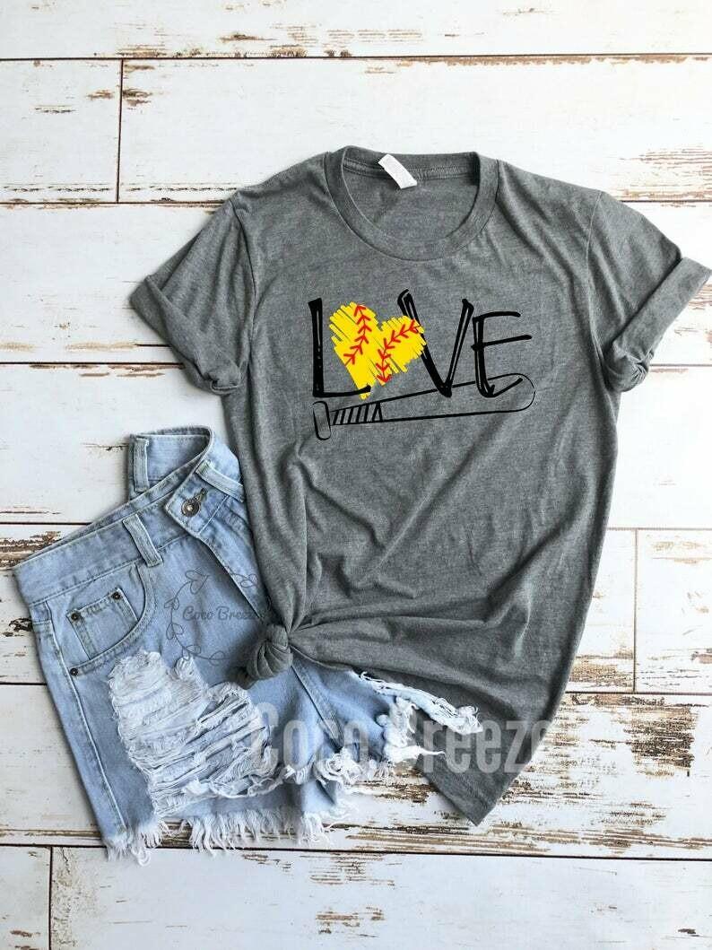 LOVE (softball) - unisex tshirt. softball mom shirt, softball shirt, softball shirts, softball womens, baseball shirt, tball shirt, baseball