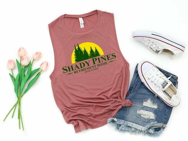 Shady Pines (retirement home) - womens muscle tank. Stay golden tank, stay golden shirt, golden girls, golden girls shirt, shady pines shirt