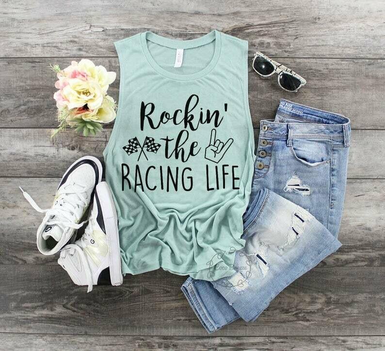 Rockin' the racing life - womens muscle tank. checkered flag, fast cars shirt, beer shirt, raceday shirt, race day, carb day, racing tank