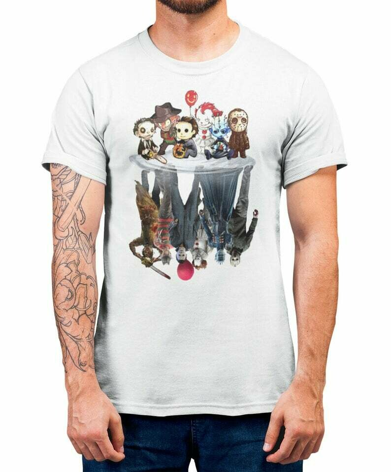 New Halloween Upside Down T-Shirt 2019 Horror Movie Characters Reflections