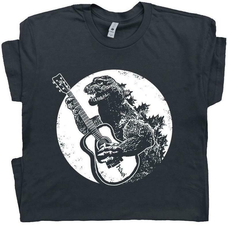 Guitar T Shirt Vintage Guitar Shirt Godzilla Playing Guitar Cool T Shirt Graphic Acoustic Electric Bass Player For Men Women Retro Rock Band