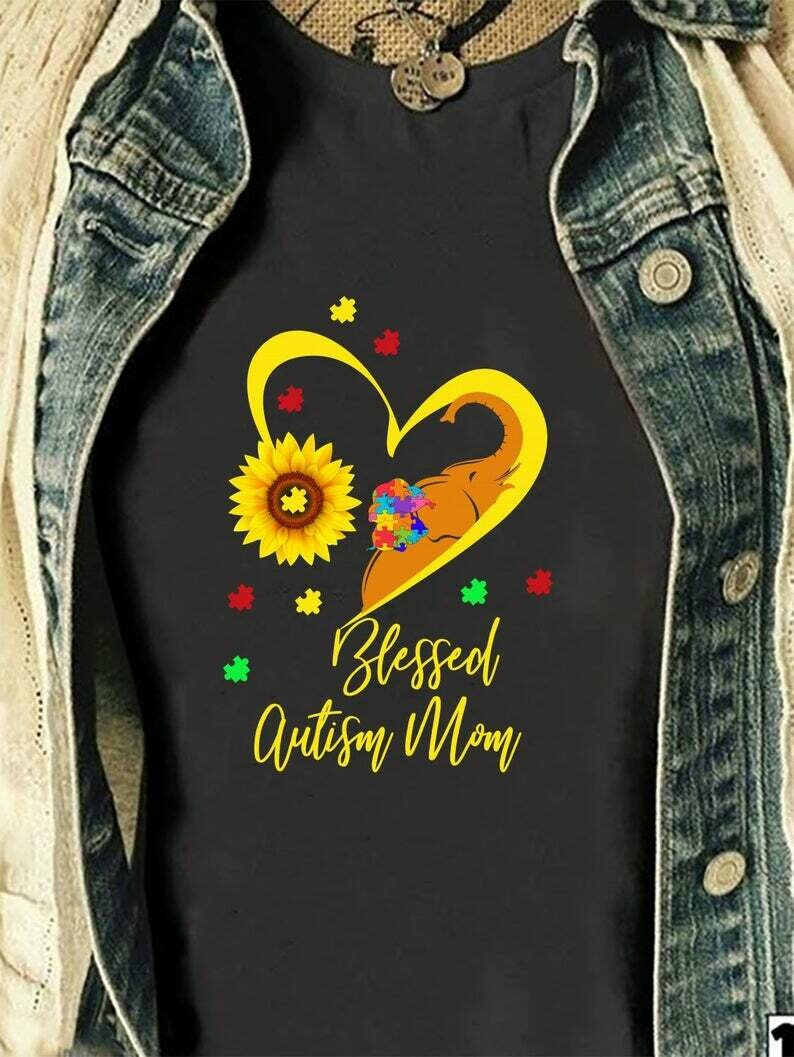 Sunflower Elephant Blessed Autism Mom Autism Awareness T-Shirt Gifts for Mama Mommy Mothers
