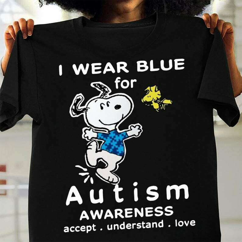 Snoopy Woodstock I wear blue for Autism Awareness accept understand love Dogs t shirt gift for men and women