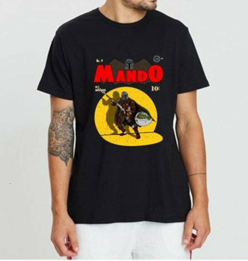 Baby Yoda Mando '20 this is the way master The Mandalorian with death Star Wars Movie USA Flag T-Shirts
