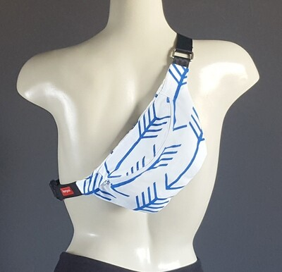 White Cobalt Blue Arrow Fanny Pack