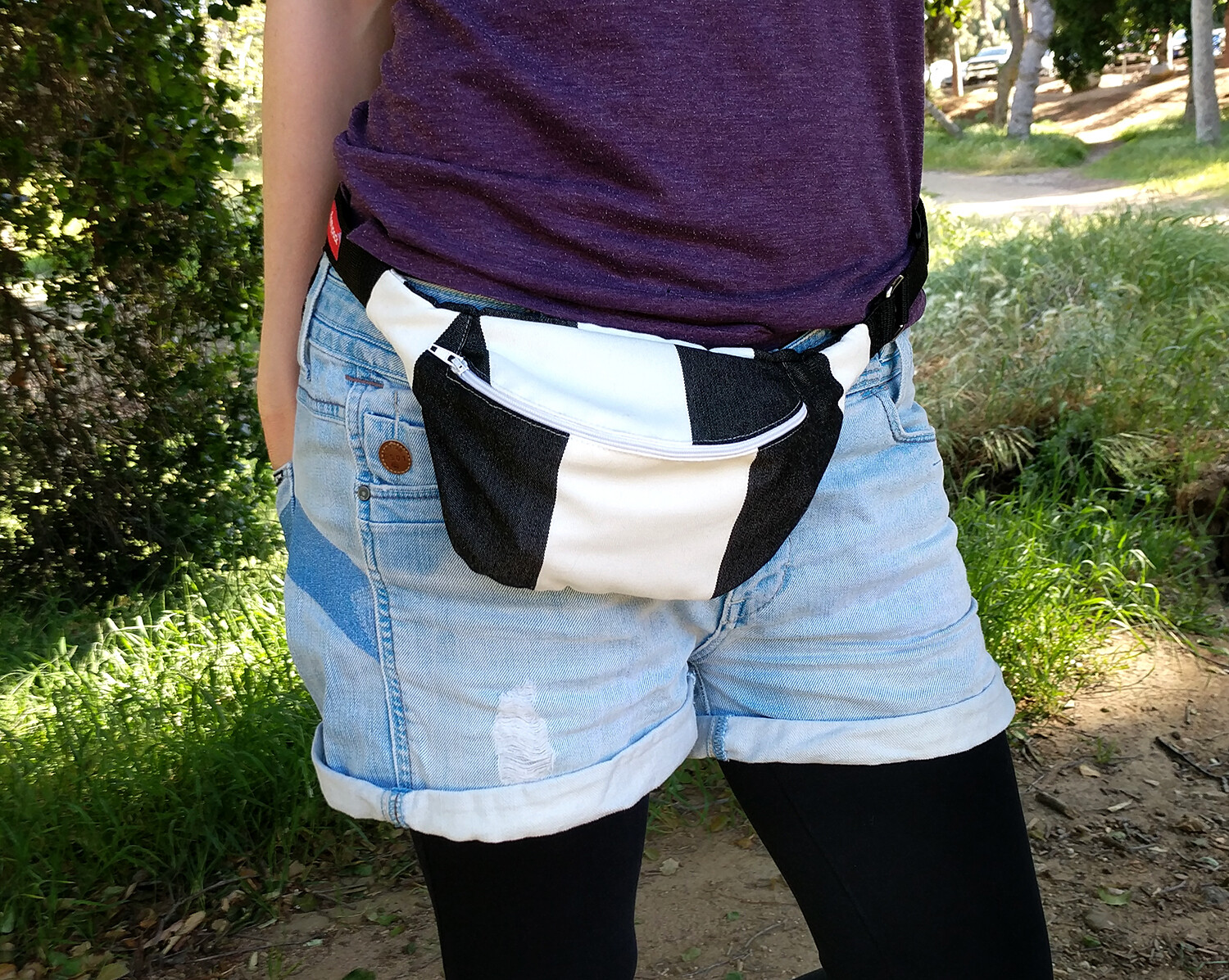 Black and White Chequered Fanny Pack