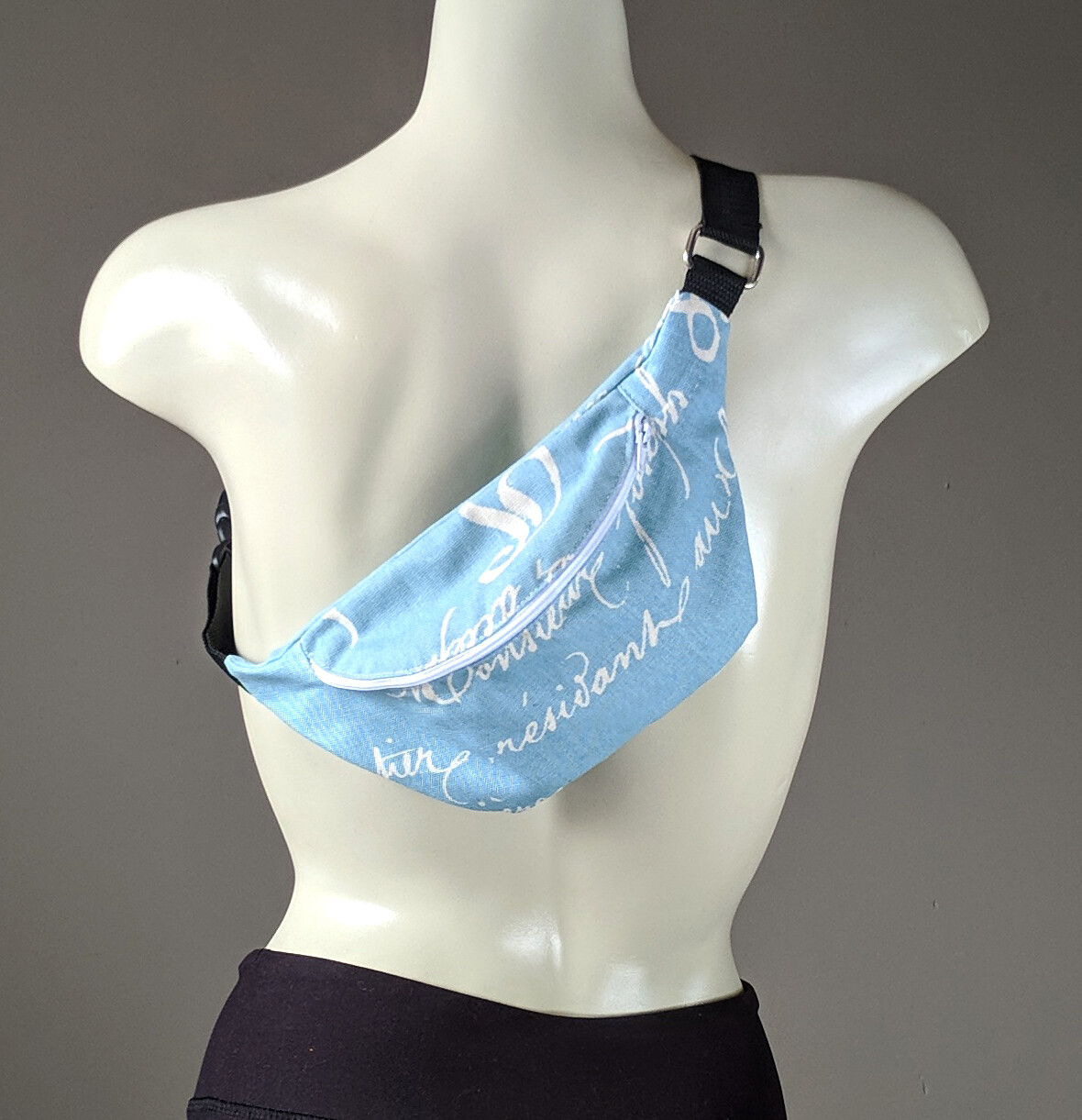 Blue Calligraphy Fanny Pack