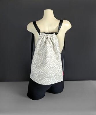 Batik Gray Drawstring Bag