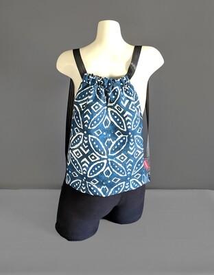 Batik Navy Blue Drawstring Bag