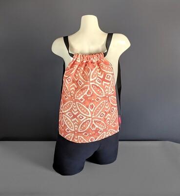 Batik Orange Drawstring Bag