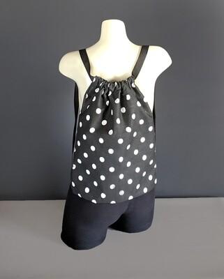 Black White Polka Dot Drawstring Bag