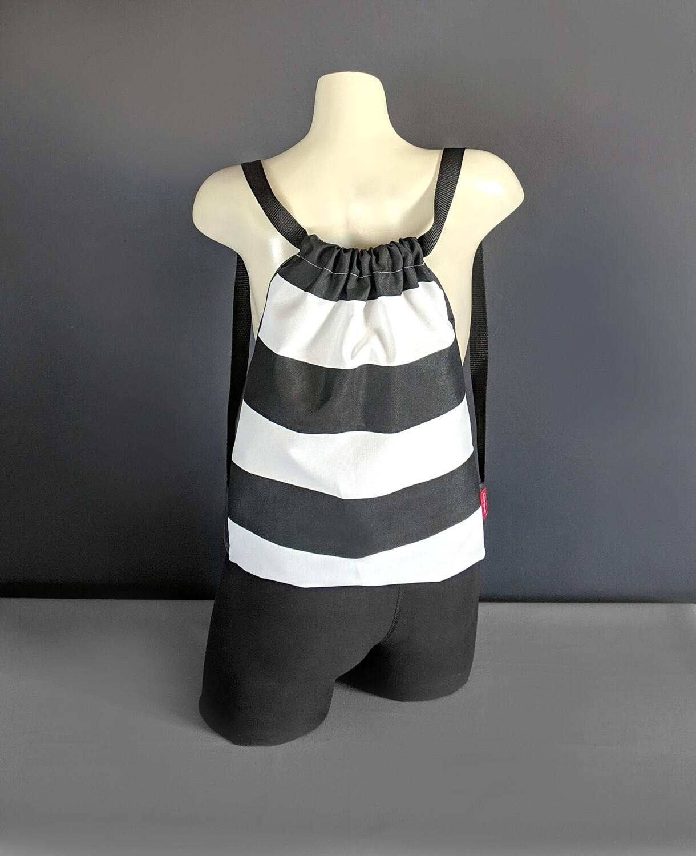 Black White Horizontal Stripe Drawstring Bag