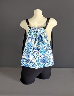 Blue Paisley Floral Drawstring Bag