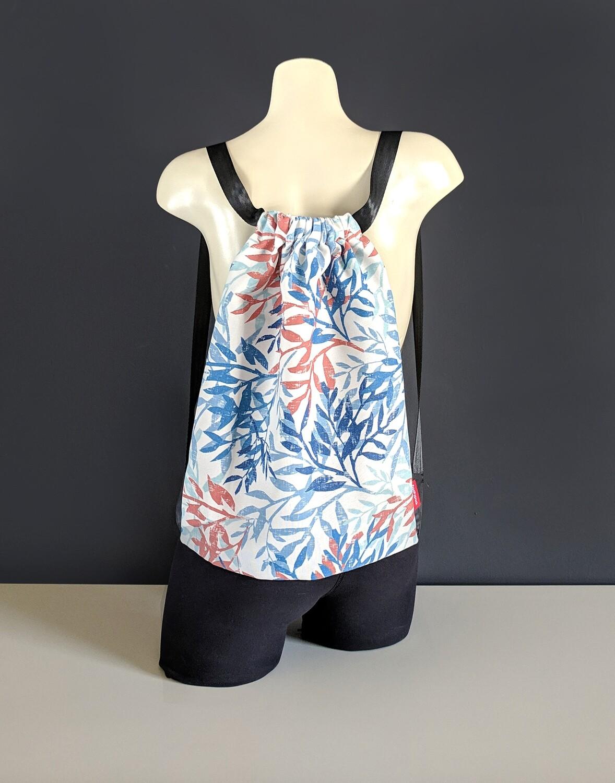 Blue Leaves Drawstring Bag