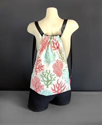 Sea Coral Pink Drawstring Bag