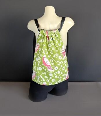 Green Bird Drawstring Bag