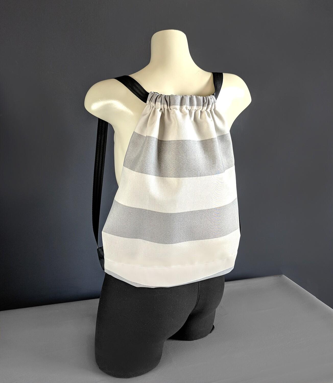 Gray Beige Stripe Drawstring Bag