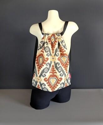 Ikat Brown Drawstring Bag