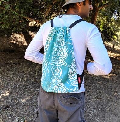 Turquoise Boho Blue Drawstring Bag