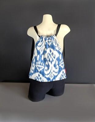 Indigo Blue Boho Drawstring Bag