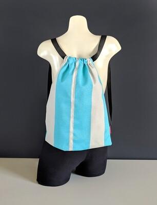 Turquoise Blue Stripe Drawstring Bag