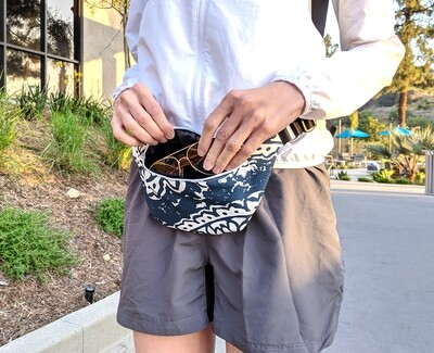 Navy Blue White Boho Print Fanny Pack
