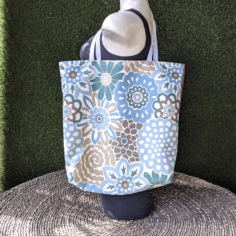 Blue Floral Shopper Tote