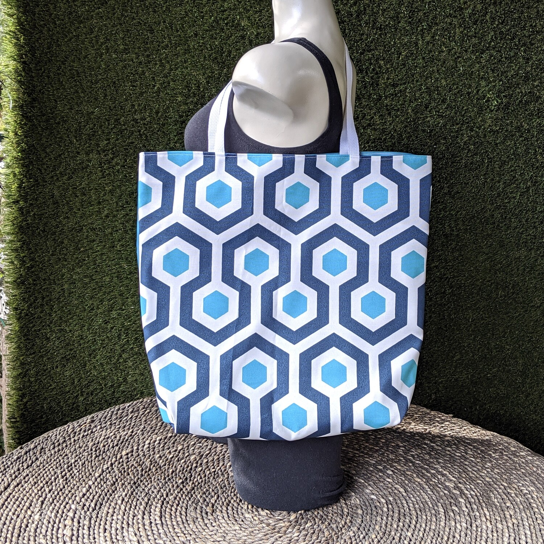 Blue Hexagon Shopper Tote
