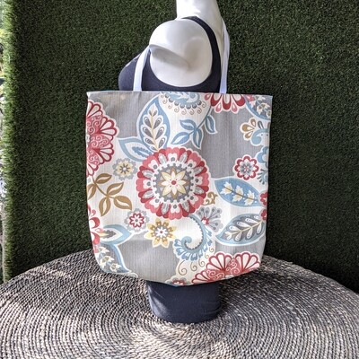Gray Indian Floral Shopper Tote